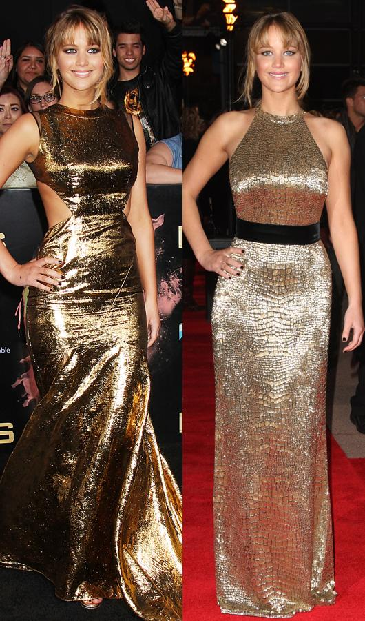 Celebrity fashion gold dresses: Jennifer Lawrence set fire to the Hunger Games LA premiere in this gold cut-out frock, she also hit the UK premiere in a similar gown.