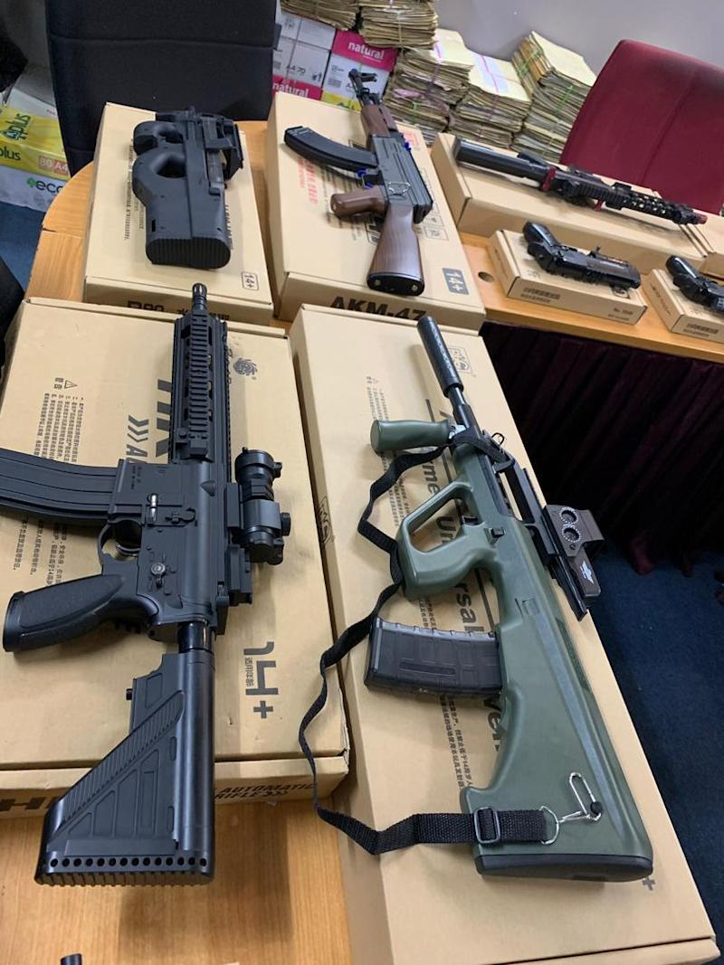 Police found 151 sets of fake guns as well as 283 gun parts and components at a mall storeroom in Kota Kinabalu yesterday. — Picture courtesy of the Kota Kinabalu police