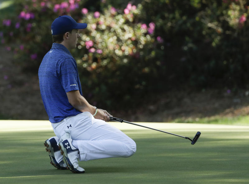 Jordan Spieth reacts to a missed putt on the 13th hole during the third round of the Masters golf tournament Saturday, April 8, 2017, in Augusta, Ga. (AP Photo/Matt Slocum)