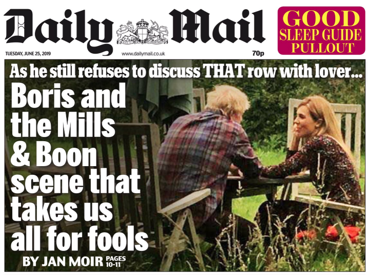 The picture was on the front page of the Daily Mail