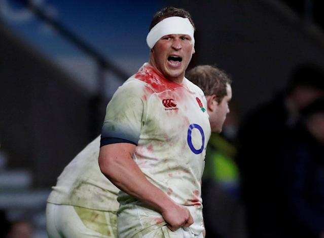 FILE PHOTO: Rugby Union - Six Nations Championship - England vs Wales - Twickenham Stadium, London, Britain - February 10, 2018 England's Dylan Hartley with a bandage Action Images via Reuters/Paul Childs/File Photo