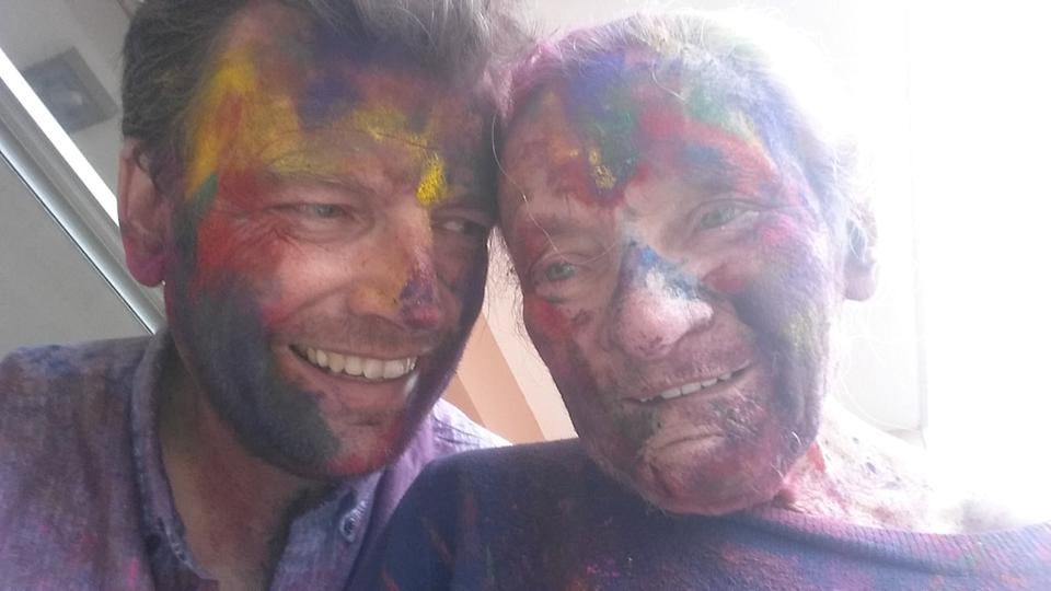 The pair celebrating Holi in Nepal. (SWNS)