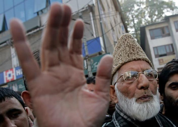 Geelani, chairman of the hardliner faction of Kashmir's All Parties Hurriyat Conference, talks to the media in Srinagar
