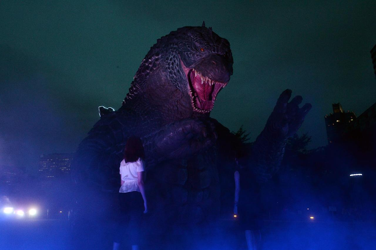 A 6.6 meter tall Godzilla statue at the Midtown park in Tokyo in 2014