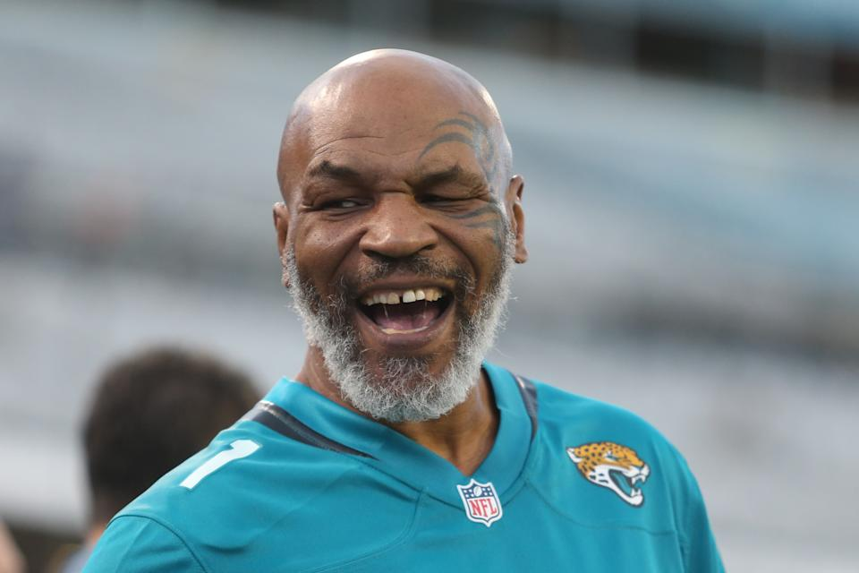 JACKSONVILLE, FL - SEPTEMBER 19: Former boxing champion Mike Tyson looks on during the game between the Tennessee Titans and the Jacksonville Jaguars on September 19, 2019 at TIAA Bank Field in Jacksonville, Fl.(Photo by David Rosenblum/Icon Sportswire via Getty Images)