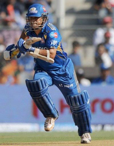 Sachin Tendulkar during the IPL Twenty20 cricket match between Mumbai Indians and Kings XI Punjab on April 22. He is the highest run-getter in both forms of the game and last month became the first batsman to complete 100 international centuries -- 51 in Tests and 49 in one-dayers
