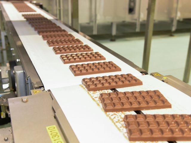 Chocolate bars on the production line