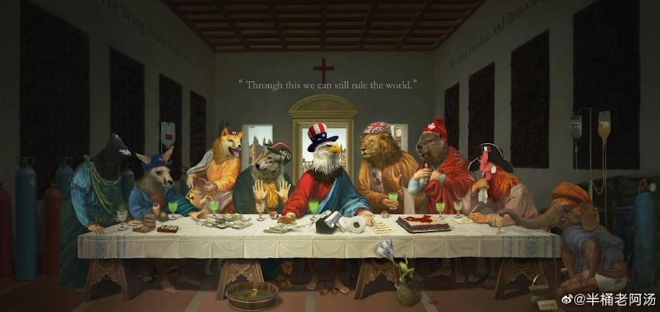 The cartoon is a detailed parody of the last supper.