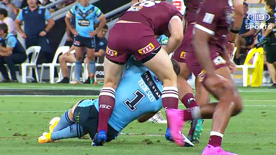 Jai Arrow, pictured here roughing up James Tedesco after he'd been heavily concussed.