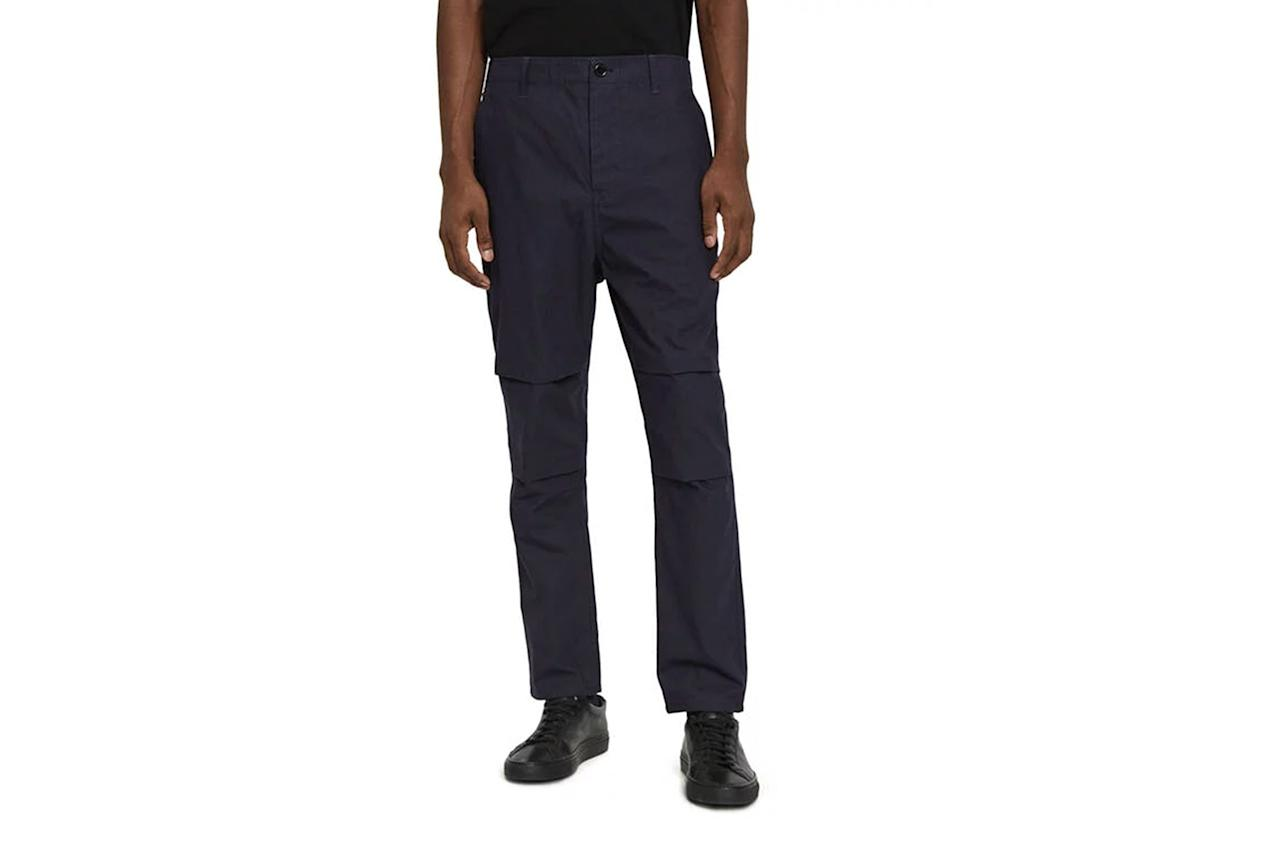 """$145, Need Supply. <a href=""""https://needsupply.com/carrot-cotton-trouser-in-navy/M102778.html?lang=en_US"""">Get it now!</a>"""