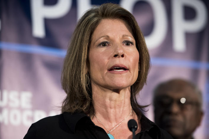 Democratic Congressional Campaign Committee  Chair Cheri Bustos, D-Ill., speaks at the House Democrats' 2019 Issues Conference opening press conference at the Landsdowne Resort and Spa in Leesburg, Va., on Wednesday, April 10, 2019. (Photo: Bill Clark/C