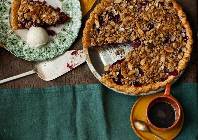 """The secret to making this boozy beauty shine? Pitted sour cherries. <a href=""""https://www.bonappetit.com/recipe/cherry-bourbon-pie?mbid=synd_yahoo_rss"""" rel=""""nofollow noopener"""" target=""""_blank"""" data-ylk=""""slk:See recipe."""" class=""""link rapid-noclick-resp"""">See recipe.</a>"""