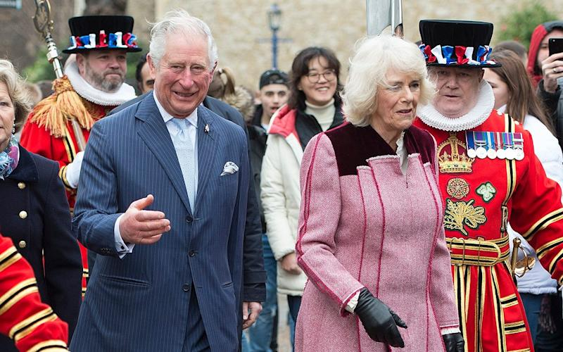 The Prince of Wales and The Duchess of Cornwall visit The Tower of London to mark 535 years since the creation of Yeoman Warders (Beefeaters) and joined a reception with VisitBritain/ VisitEngland to celebrate 50 years of the British Tourist Authority. The Prince of Wales and The Duchess of Cornwall will be greeted by the Constable of the Tower,plus representatives of Visit Britain before joiningYeoman Warders for a photograph in front of the White Tower, the iconic landmark from which The PrinceÕs standard will be flying.Their Royal Highnesses will proceed insideThe QueenÕs House and visit the cell where Thomas More was imprisoned. Here, Their Royal Highnesses will learn a brief history of the space. - Eddie Mulholland/Eddie Mulholland