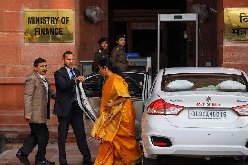India's Finance Minister Nirmala Sitharaman arrives at her office before leaving for parliament to present the federal budget in New Delhi
