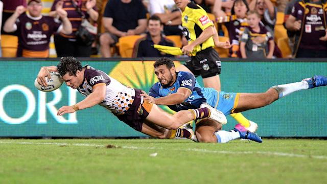 Gold Coast Titans came agonisingly close to ending their Suncorp Stadium hoodoo, but James Roberts left them heartbroken.