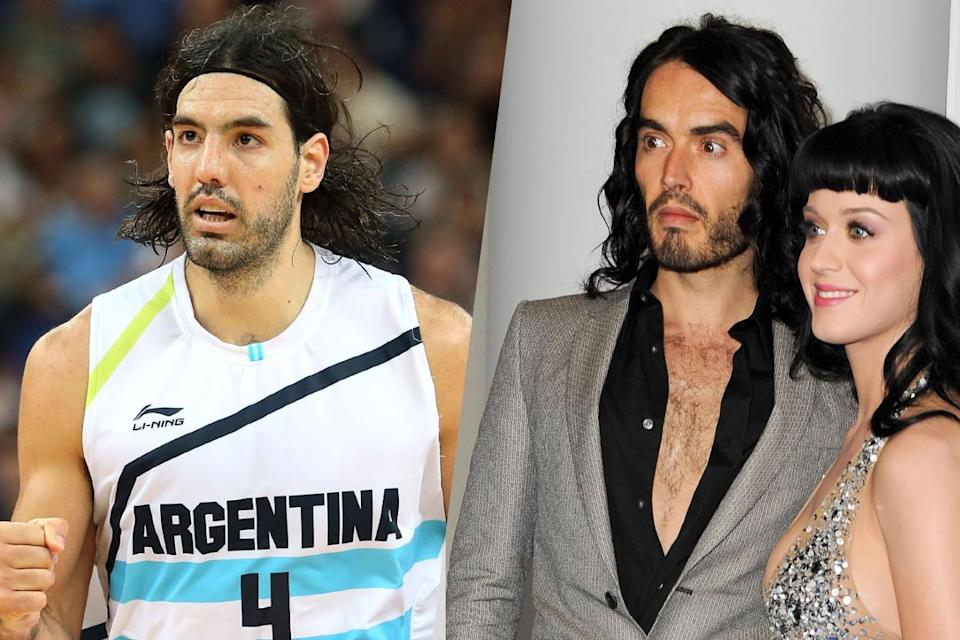 <p>Argentine basketball player Luis Scola (left) and actor and comedian Russell Brand (right). </p>