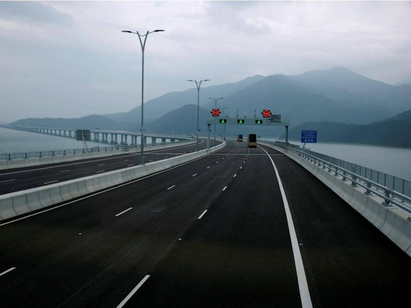 A view from the Hong Kong side of the Hong Kong-Zhuhai-Macau bridge (Reuters)