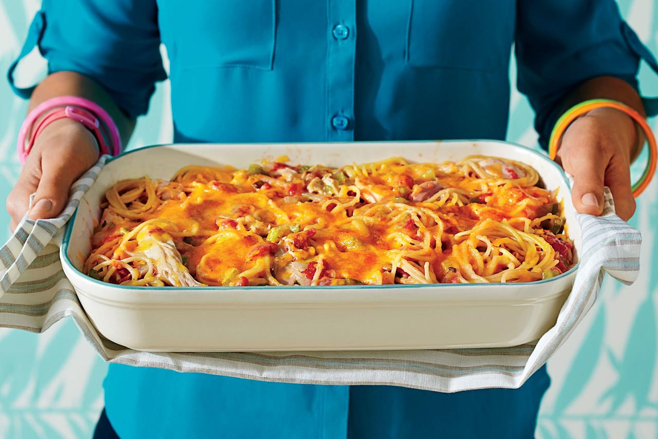 """<p><b>Recipe: </b><a href=""""https://www.southernliving.com/recipes/chicken-spaghetti-casserole-recipe""""><b>Chicken Spaghetti Casserole</b></a></p> <p>In a sea of chicken casseroles, this spaghetti bake might be the ultimate crowd-pleaser. The old-school recipe transports us back to Mama's house on any typical Tuesday night.</p>"""