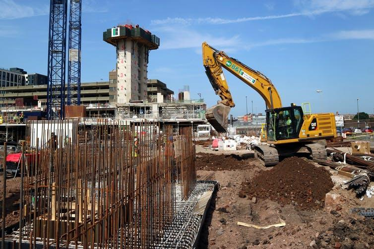 Building site with excavations