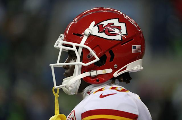 "<a class=""link rapid-noclick-resp"" href=""/nfl/players/29399/"" data-ylk=""slk:Tyreek Hill"">Tyreek Hill</a> defended himself publicly for the first time since a Kansas City TV station broadcast a secret recording of a contentious conversation he had with his fiancee. (Getty Images)"