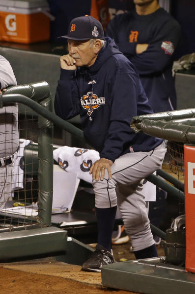 Detroit Tigers manager Jim Leyland watches during the seventh inning of Game 2 of baseball's World Series against the San Francisco Giants Thursday, Oct. 25, 2012, in San Francisco. (AP Photo/Jeff Chiu)