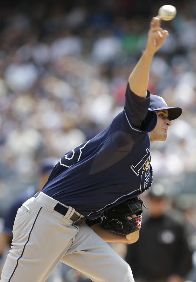 Tampa Bay Rays' Jake Odorizzi delivers a pitch during the first inning of a baseball game against the New York Yankees Saturday, May 3, 2014, in New York. (AP Photo/Frank Franklin II)