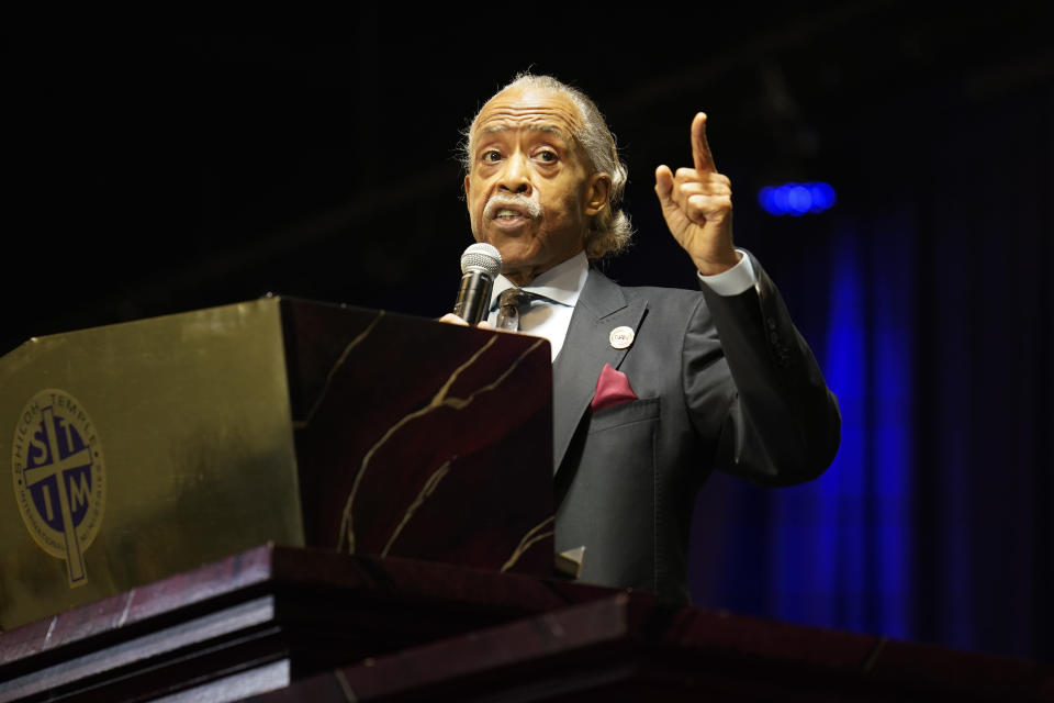 Rev. Al Sharpton eulogies Daunte Wright during funeral services at Shiloh Temple International Ministries in Minneapolis, Thursday, April 22, 2021. Wright, 20, was fatally shot by a Brooklyn Center, Minn., police officer during a traffic stop. (AP Photo/John Minchillo, Pool)