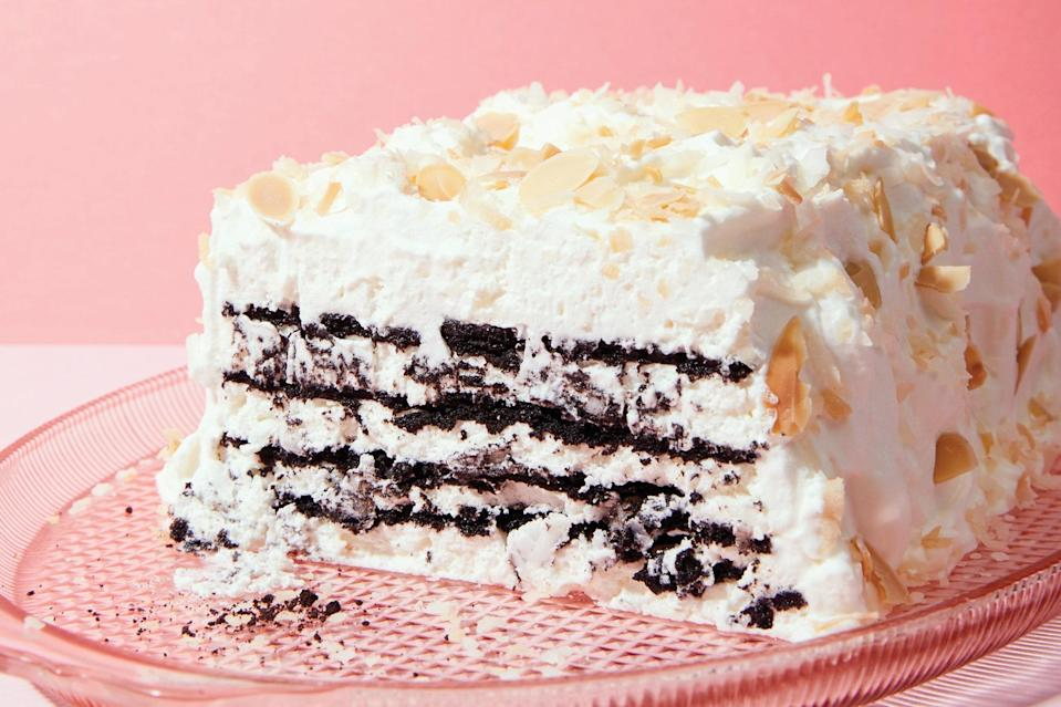 "I've been dreaming about developing an icebox cake featuring the flavors of chocolate, coconut, and almond since cowriting <em><a href=""https://www.amazon.com/Icebox-Cakes-Recipes-Coolest-Town/dp/1452112215"" rel=""nofollow noopener"" target=""_blank"" data-ylk=""slk:Icebox Cakes"" class=""link rapid-noclick-resp"">Icebox Cakes</a></em>. The Pecan Refrigerator Cake recipe from <em><a href=""https://www.biblio.com/book/best-cake-recipes-contributed-readers-better/d/728271578"" rel=""nofollow noopener"" target=""_blank"" data-ylk=""slk:Best Cake Recipes"" class=""link rapid-noclick-resp"">Best Cake Recipes</a></em> (1929) influenced my version here. The original calls for ladyfingers layered with uncooked eggs (!) and sugar, but I chose to use chocolate wafer cookies and coconut whipped cream, made from coconut milk instead. If you have leftover whipped cream, you may use it to frost the outside of the cake, as in the picture. Although, truth be told, I prefer the cake ""naked,"" with the layers visible for all to see. <a href=""https://www.epicurious.com/recipes/food/views/coconut-chocolate-icebox-cake-with-toasted-almonds?mbid=synd_yahoo_rss"" rel=""nofollow noopener"" target=""_blank"" data-ylk=""slk:See recipe."" class=""link rapid-noclick-resp"">See recipe.</a>"