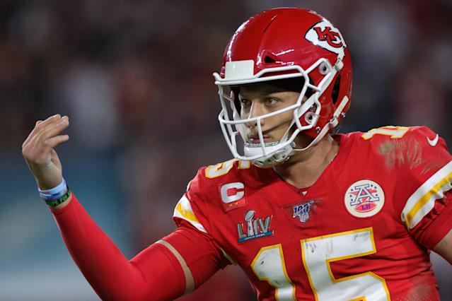 The Chiefs have exercised Patrick Mahomes' fifth-year option and plan to work out a long-term agreement. (Photo by Jamie Squire/Getty Images)