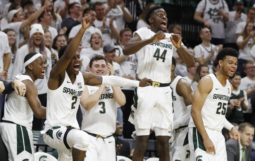 Michigan State mascot Sparty was staring down Tyrese Maxey