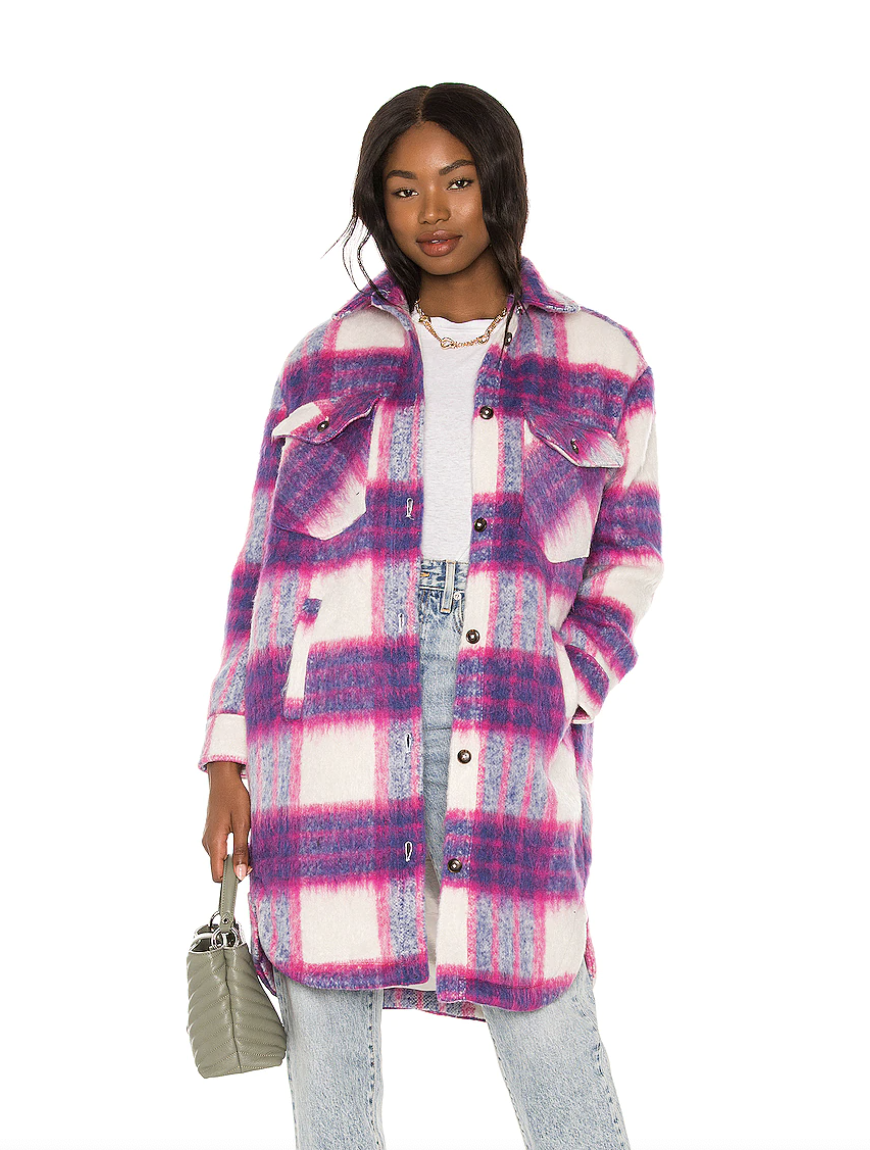black model in pink and white and purple Blank NYC Long Plaid Shacket