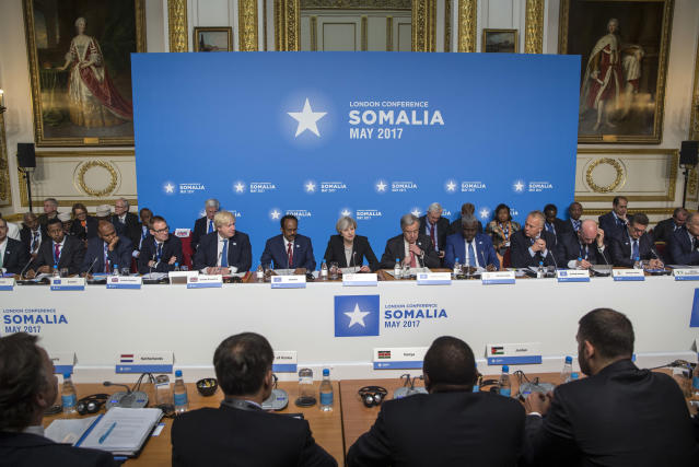 A general view of participants of the London Somalia Conference, held at Lancaster House, in London, Thursday, May 11, 2017. British Prime Minster Theresa May and U.N. Secretary-General Antonio Guterres called Thursday for more support for drought-stricken Somalia, with the U.N. chief requesting another $900 million in aid this year. (Jack Hill/Pool Photo via AP)