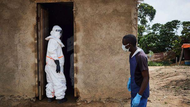 PHOTO: A health team begins to disinfect a clinic in Ngongolio, Beni, North Kivu province, Democratic Republic of the Congo, Aug. 28, 2019. The clinic briefly treated a patient before he was sent to a treatment center for Ebola. (Hugh Kinsella Cunningham/EPA via Shutterstock)