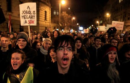Students rally against the government in Budapest, Hungary, January 19, 2018. REUTERS/Bernadett Szabo