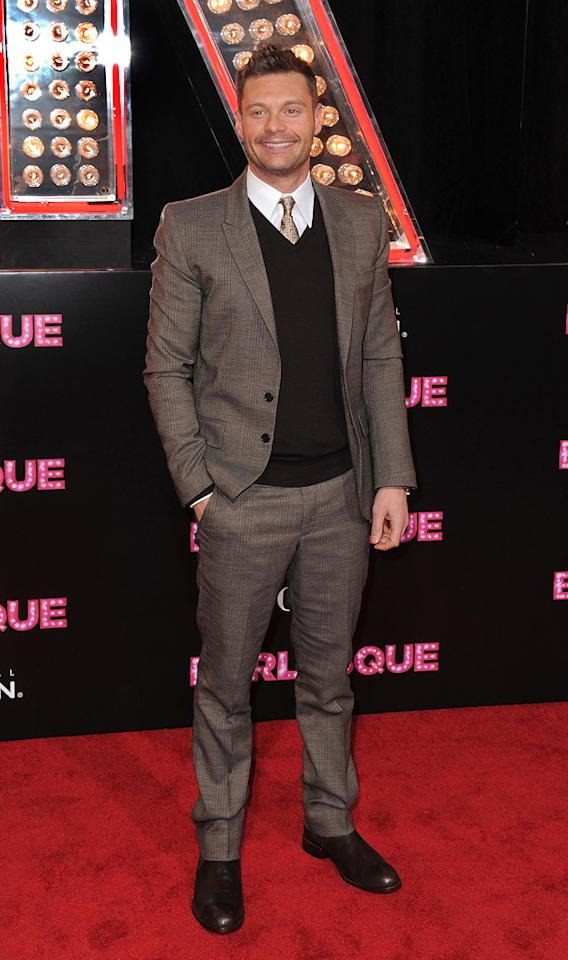 """<a href=""""http://movies.yahoo.com/movie/contributor/1810168280"""">Ryan Seacrest</a> at the Los Angeles premiere of <a href=""""http://movies.yahoo.com/movie/1810125282/info"""">Burlesque</a> on November 15, 2010."""