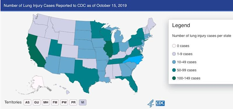 As of this week, all U.S. states except for Alaska have reported vaping-related illnesses. (Photo: CDC)