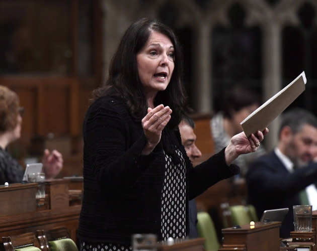 Conservative MP Cathay Wagantall asks a question during question period in the House of Commons in Ottawa on May 4, 2018.