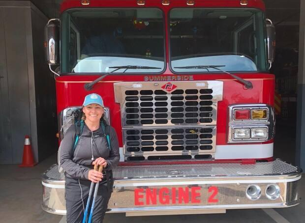 Angie Arsenault at a visit to Summerside fire station.