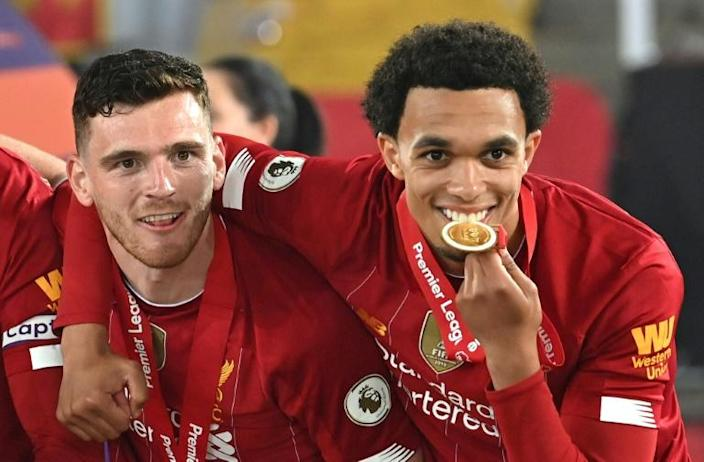 Wingmen: Andy Robertson (left)and Trent Alexander-Arnold (right)have been key to Liverpool winning the Premier League and Champions League under Jurgen Klopp