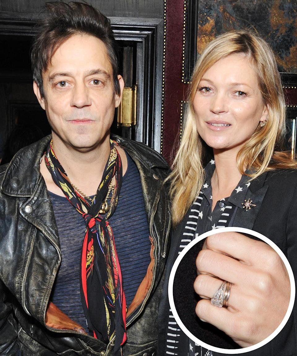 <p>The Kills' guitarist popped the question to the supermodel with a 1920's diamond ring. They wed in the summer of 2011. </p>
