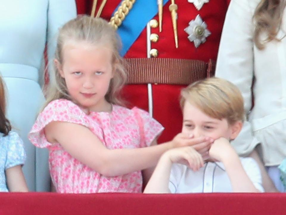 <p>Savannah Phillips and Prince George on the balcony of Buckingham Palace during Trooping The Colour in 2018. (Chris Jackson/Getty Images)</p>