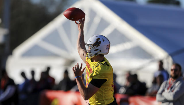 North Squad quarterback Josh Allen of Wyoming (17) shows off his arm at Senior Bowl practice. (AP)