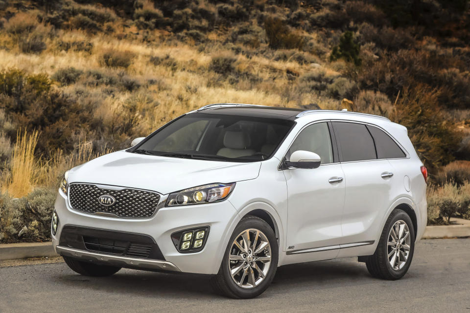 This undated photo provided by Kia shows the 2016 Kia Sorento. Some notable features in higher trims of the vehicle are leather upholstery, ventilated front seats and heated second-row outboard seats. (Kia Motors America via AP)