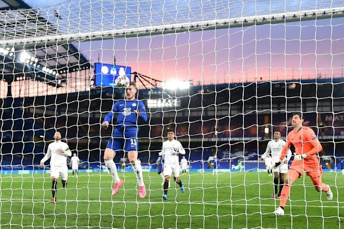 Timo Werner (centre) headed Chelsea into the lead against Real Madrid