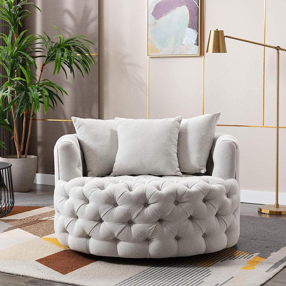 """<p>Purchase it for its looks, but you'll fall in love with the <a href=""""https://www.amazon.com/Pannow-Modern-Swivel-360%C2%B0Swivel-Leisure/dp/B08L6KNS7S?ref_=ast_sto_dp&th=1&tag=syn-yahoo-20&ascsubtag=%5Bartid%7C10067.g.37858770%5Bsrc%7Cyahoo-us"""" rel=""""nofollow noopener"""" target=""""_blank"""" data-ylk=""""slk:Akili Swivel Chair"""" class=""""link rapid-noclick-resp"""">Akili Swivel Chair</a> for its cozy comfort. Pannow, which offers furniture in addition to a wide array of other products, crafts items in accordance with customer feedback. </p><p><a class=""""link rapid-noclick-resp"""" href=""""https://www.amazon.com/stores/Pannow/page/35275861-E142-47DD-A039-3081BED9C542?ref_=ast_bln&tag=syn-yahoo-20&ascsubtag=%5Bartid%7C10067.g.37858770%5Bsrc%7Cyahoo-us"""" rel=""""nofollow noopener"""" target=""""_blank"""" data-ylk=""""slk:Shop Pannow on Amazon"""">Shop Pannow on Amazon</a> </p>"""