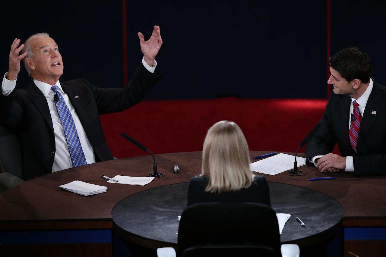 DANVILLE, KY - OCTOBER 11:  U.S. Vice President Joe Biden (L) and Republican vice presidential candidate U.S. Rep. Paul Ryan (R-WI) (R) participate in the vice presidential debate as moderator Martha Raddatz looks on at Centre College October 11, 2012 in Danville, Kentucky.  This is the second of four debates during the presidential election season and the only debate between the vice presidential candidates before the closely-contested election November 6.  (Photo by Win McNamee/Getty Images)