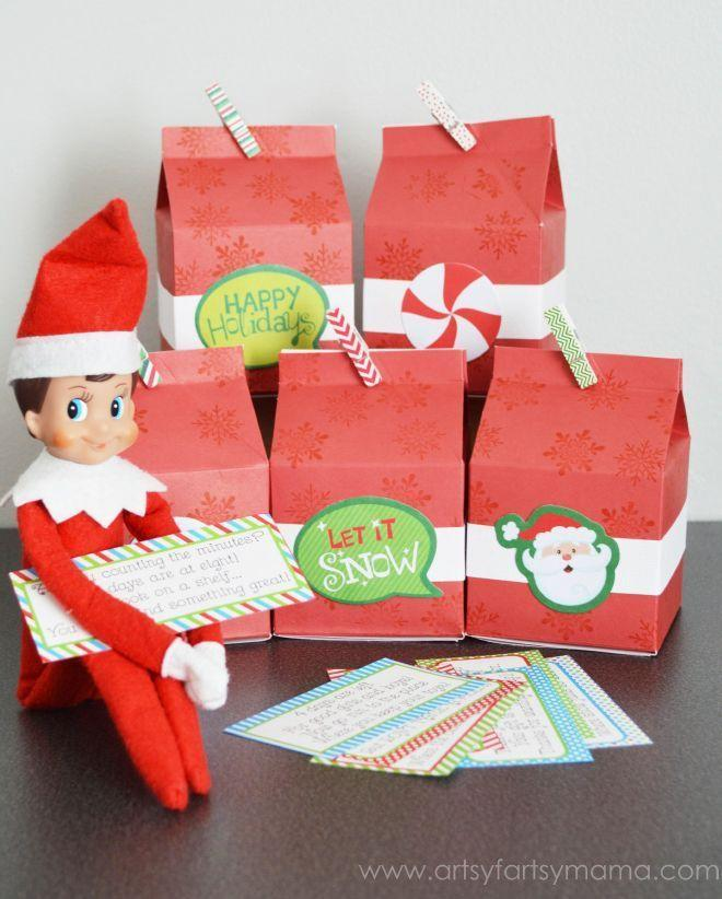 """<p>Give your kids a taste of all the joy on the way by asking your Elf to arrive bearing gifts. He can also hold up clues about what to expect each day or week of the month.</p><p><strong>Get the tutorial at <a href=""""https://www.artsyfartsymama.com/2014/11/elf-on-shelf-advent.html"""" rel=""""nofollow noopener"""" target=""""_blank"""" data-ylk=""""slk:Artsy Fartsy Mama"""" class=""""link rapid-noclick-resp"""">Artsy Fartsy Mama</a>.</strong></p>"""
