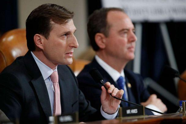 PHOTO: Daniel Goldman, director of investigations for the House Intelligence Committee Democrats, left, questions U.S. Ambassador to the European Union Gordon Sondland as he testifies before the House Intelligence Committee on Capitol Hill, Nov. 20, 2019. (Alex Brandon/AP)