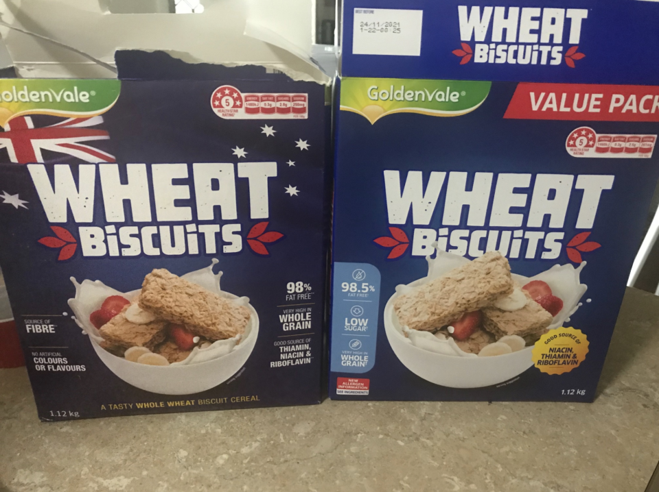 New and old Aldi Wheat Biscuits packages side-by-side.