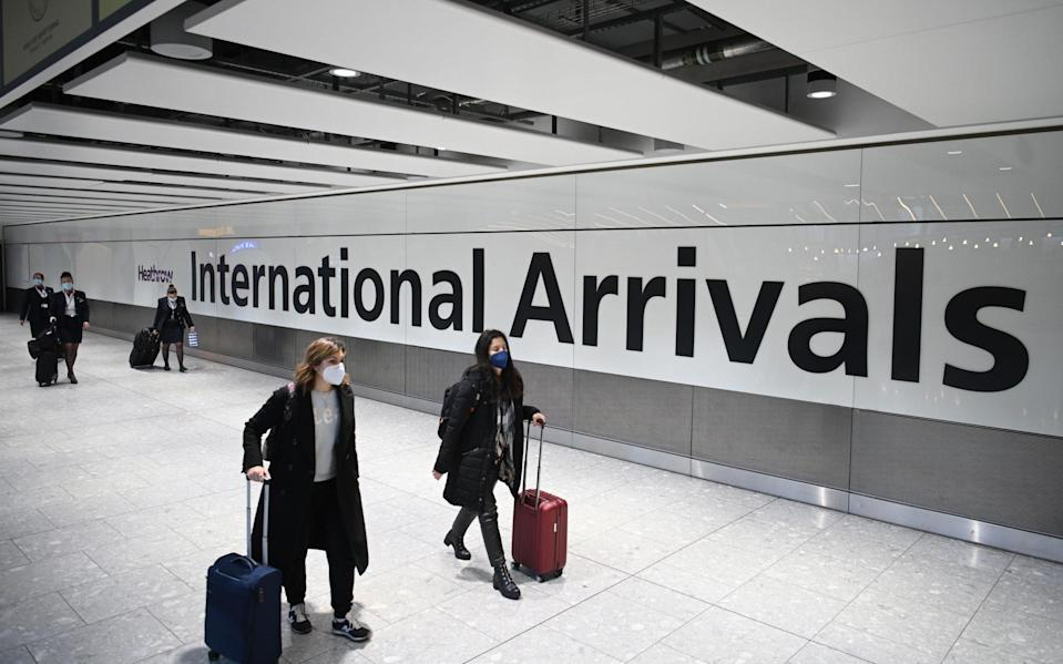 All travel corridors will be scrapped from 4am on Monday, when all arrivals will need to take a test before entering the UK - Getty